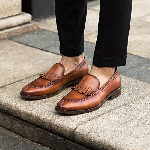 Echtes Schuhe Schuhe Brown Vintage Quaste Männer Handgemachte Casual MXNET Schuhe für EU Klassischen Size 45 Brass Mokassins Leder Stil Color 8ZxvwnC5q