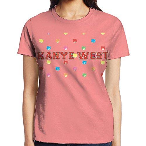 IEIDJFF Basketball Kanye West Bear T-Shirt Short Sports Custom Womens Round Collar X-Large Print Both Front and - West Blazer Kanye White