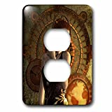 3dRose Heike Köhnen Design Steampunk - Beautiful steampunk women, clocks and gears - Light Switch Covers - 2 plug outlet cover (lsp_266375_6)