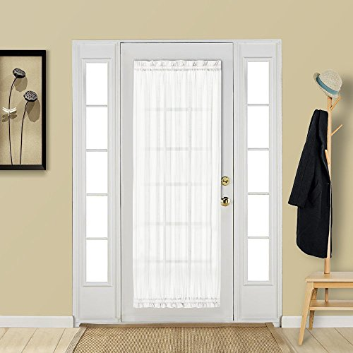 (Aquazolax White French Door Curtain Panel Elegant Soild Voile Panels Rod Pocket Sheer Curtain for Patio Door 25