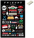 Bundle - 2 Items - Friends TV Show Infographic Poster - 91.5 x 61cms (36 x 24 Inches) and Small Block Of White Tack