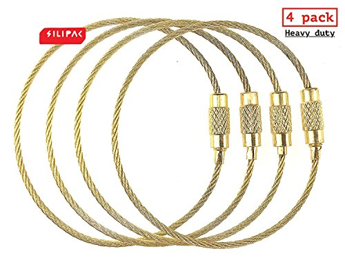 Silipac Large Key Ring Cable Wire Car Keychains Keyrings Loop Heavy Duty Tag Keepers Tough Binding Carabiner Rings Holder Stainless Steel Durable Organize (4pcs 1,5mm 6,3, Gold)