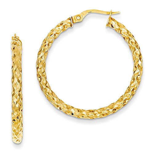 3 mm Rough Textured Hoop Earrings in Genuine 14k Yellow Gold - 32 mm 14k Yellow Gold Rough