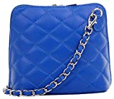 Primo Sacchi Italian Royal Blue Leather Small/Micro Quilted Shoulder Bag Handbag, with Metal Chain and Leather, Strap Includes a Branded Protective Storage Bag