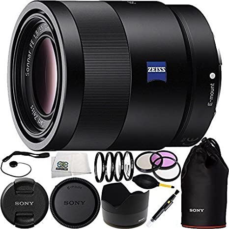 Sony 55mm F1.8 Sonnar T* FE ZA SEL55F18Z Full Frame Prime Lens Bundle 15PC Accessory Kit + Dust Blower Includes Manufacturer Accessories + 4PC Macro Filter Set 3PC Filter Kit +1,+2,+4,+10 Lens Pen UV-CPL-FLD Microfiber Cleaning Clot Cap Keeper