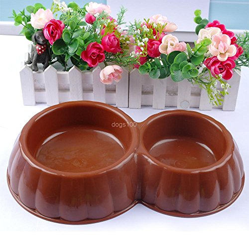Buildent(TM)Colorful Plastic Dog Double Bowl Cat Feeding Water Puppy Pet Feeder Dish (Discount China Dishes)