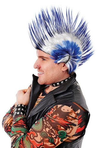 Rock Star Glam 80s (Bristol Novelty BW786 Mohican Wig, Blue/White, One Size)
