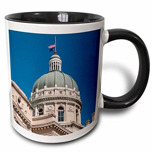 - 3dRose Danita Delimont - Capitol Buildings - USA, Indiana, Indianapolis State Capitol building dome - US15 LFO0005 - Lee Foster - 15oz Two-Tone Black Mug (mug_144408_9)