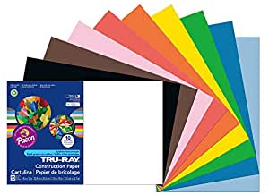 Pacon Tru-Ray Construction Paper, 12-Inches by 18-Inches, 50-Count, Assorted (103063)