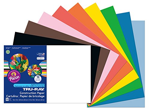 Price comparison product image Pacon Tru-Ray Construction Paper, 12-Inches by 18-Inches, 50-Count, Assorted (103063)