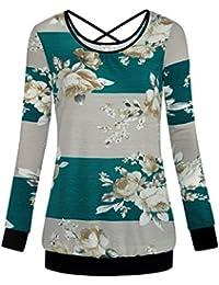 Women's Long Sleeve Floral Print Blouse Striped Open Back Shirt Tops