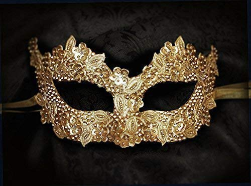 Sequined Gold Masquerade Mask - Mask Sequined