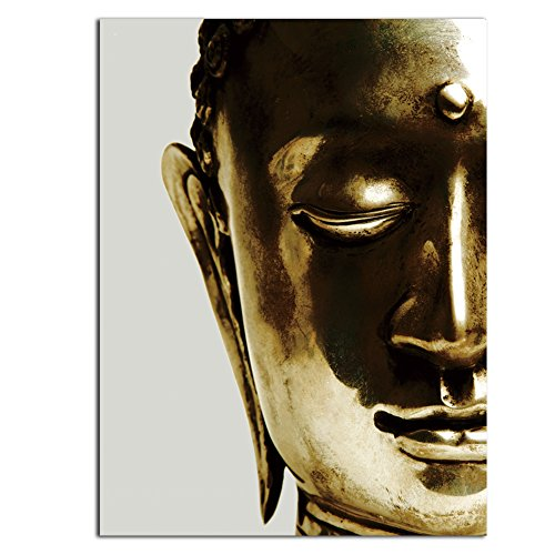 - TONZOM Canvas Wall Art Wall Art Stretched Frame Ready To Hang One piece Picture Print Modern Home Decoration (Golden Zen Buddha Statue ,12x16inch
