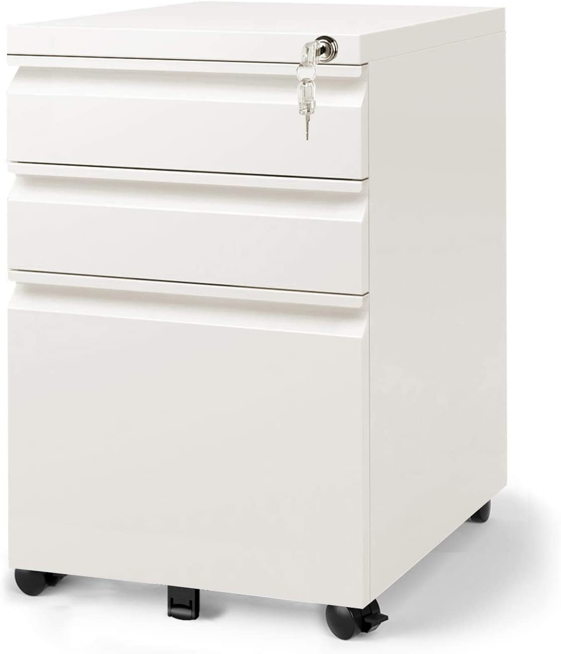 DEVAISE 34 Drawer Mobile File Cabinet with Lock, Fully Assembled Except  Casters, Letter / Legal Size, White