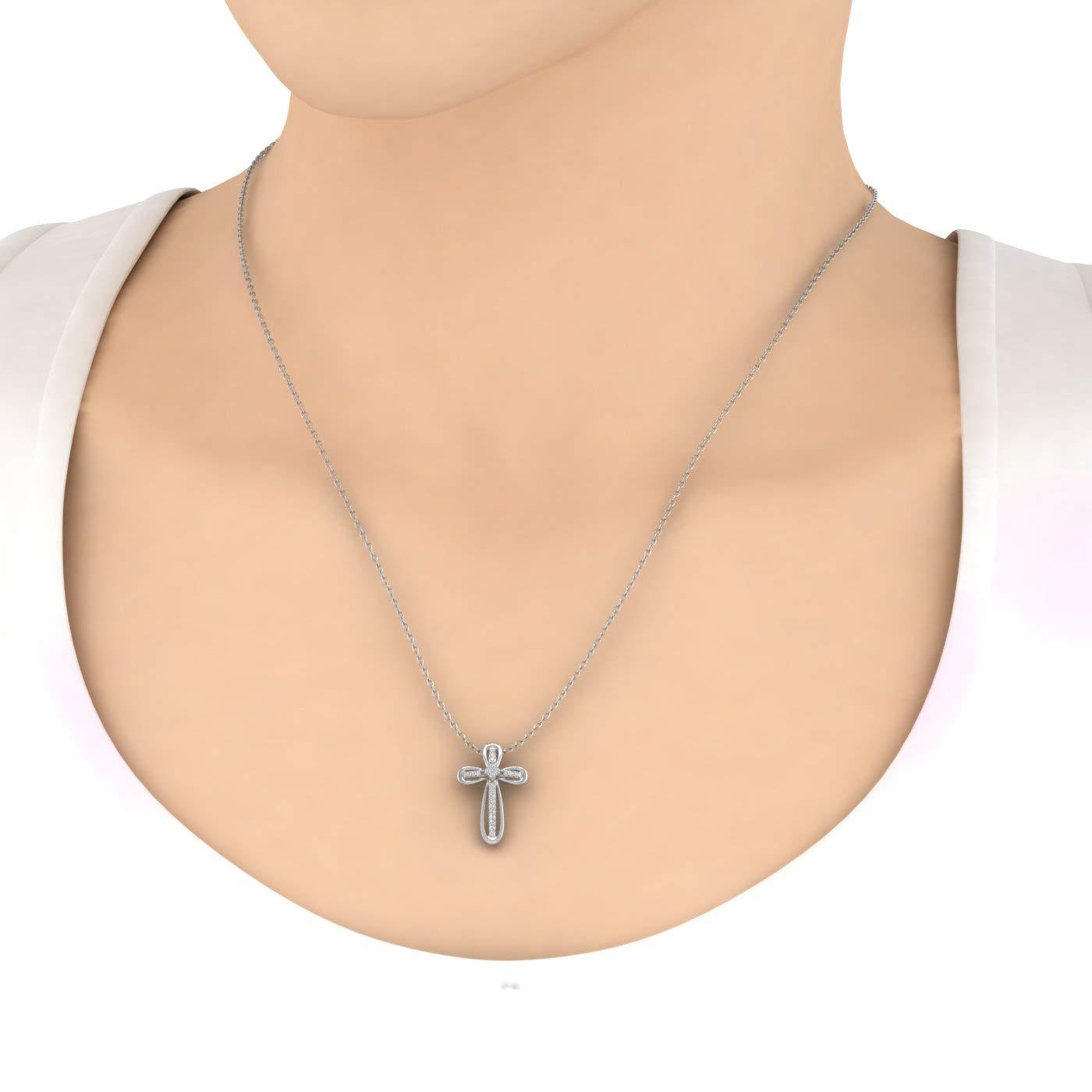 1//5 Carat Diamond Cross Pendant Necklace in 925 Sterling Silver