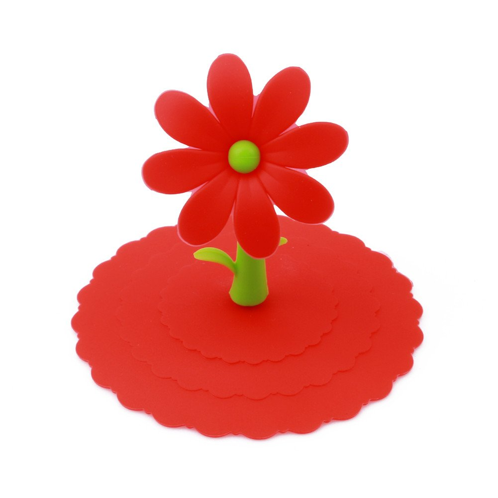 Gluckliy Cute Flower Anti-dust Silicone Glass Cup Cover Coffee Mug Suction Seal Lid Cap (Blue) fangqiang