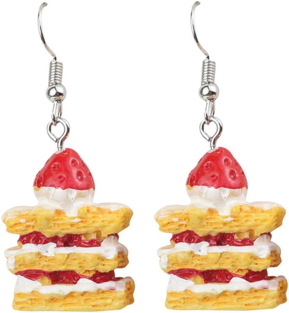 YINLIN Cute Strawberry Layer Cake Dangle Earrings Party Girl Food Jewelry