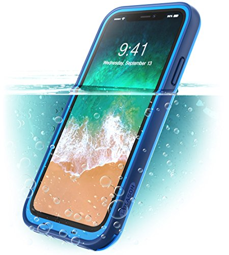 iPhone X Case, iPhone Xs Case, i-Blason [Aegis] Waterproof Full-Body Rugged Case with Built-in Screen Protector for Apple iPhone X (2017)/iPhone Xs (2018) (Frost/Blue)