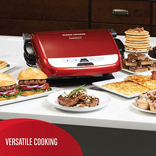 George Foreman Evolve Grill with Removable Plate Set, Digital Controls, and Adjustable Temperature, 5 Servings, Red, GRP3842RC