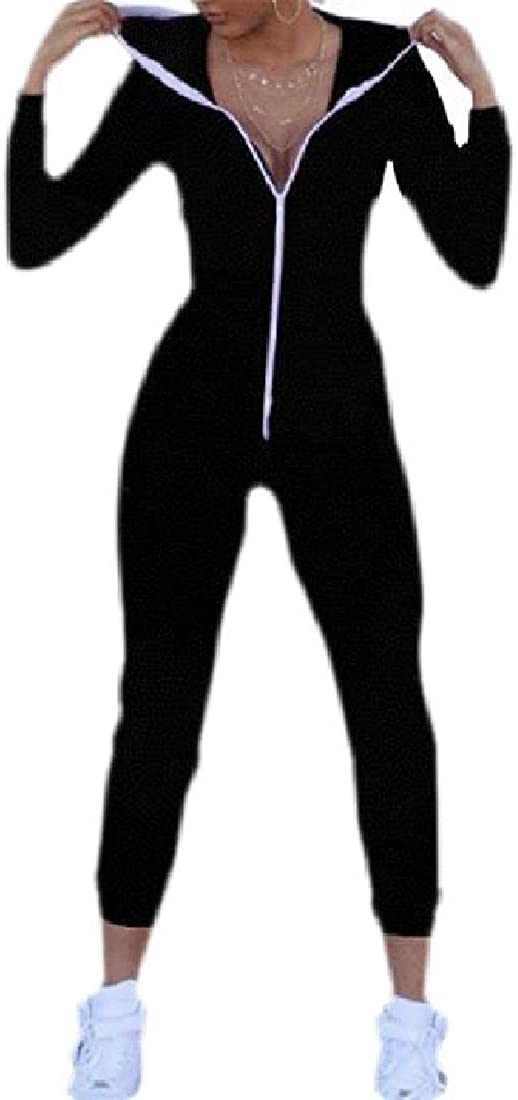 pipigo Womens Long Sleeve Hooded Zipper Front Long Rompers Jumpsuits