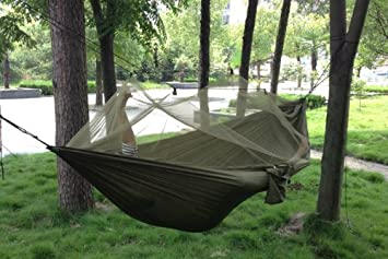 enjoydeal portable high strength parachute fabric hammock hanging bed with mosquito   for outdoor camping travel enjoydeal portable high strength parachute fabric hammock hanging      rh   amazon co uk