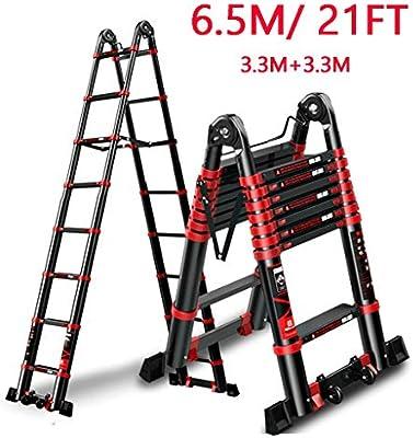 Escalera extensible/ Escalera telescópica 6.5 m / 21 pies Extra Alto Profesional Negro Ajustable Industrial escaleras telescópicas de Bricolaje, Aluminio Plegable Multiusos Escalera de extensión: Amazon.es: Hogar