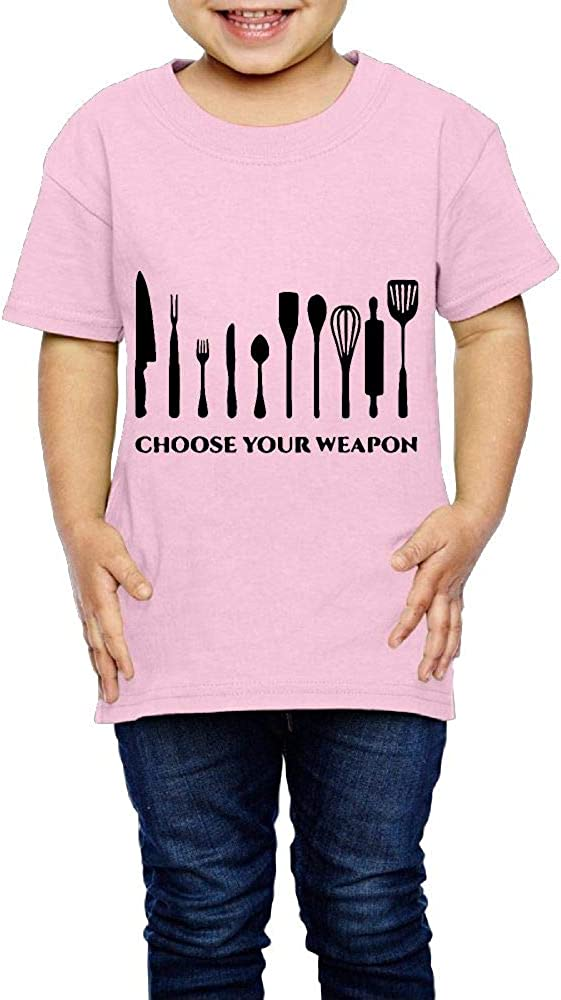 XYMYFC-E Choose Your Weapon Chef Kitchen Cutlery 2-6 Years Old Child Short-Sleeved Tshirt