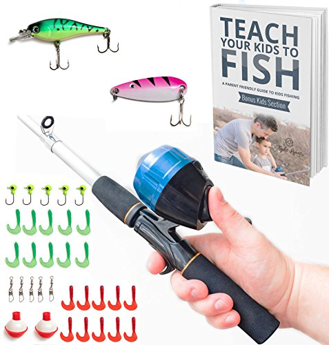 Travel Fishing Kit - Kids Fishing Pole Combo Set | All-in-One Youth Fishing Kit Includes Collapsible Rod, Spincast Reel, Tackle Box, Travel Bag, and eBook | Perfect Fishing Kit Gift for Children