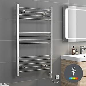 Ibathuk 1000 x 500 thermostatic electric heated towel rail bathroom radiator re52 ibathuk for Electric heated towel rails for bathrooms
