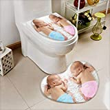 Analisahome 2 Piece Toilet Cover set Newborn twin babies,boy and girl,sleeping on a white blanket. Non-slip Soft Absorbent Heart shaped foot pad