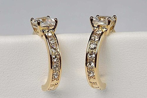 Cushion Cut Pave Gold CZ Hoop Earrings - Solitaire Wrap Around Stones - Nickel Free (Cz Avon)