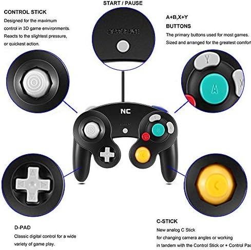 NC Gamecube Controller, adecuado para consola Wii y Nintendo Game Controller, driver con cable negro Gamepad Joystick., Juego de 1 pieza negro. 7