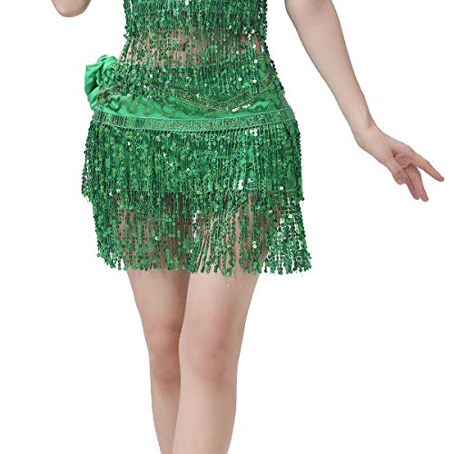 ZLTdream Women's Belly Dance Hip Scarf with Double Rows of Sequins Fringe Green