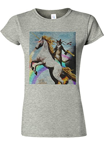 Crazy Cat Unicorn Rainbow Novelty Sports Grey Women T Shirt Top-S