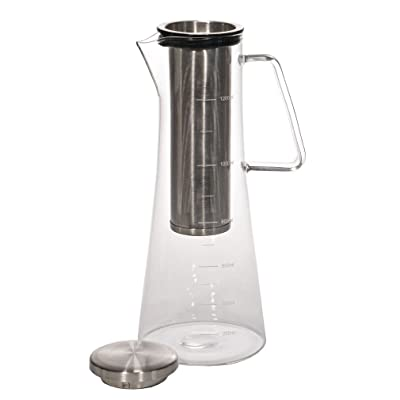 Handi Home Larger 43 Oz. Cold Brew Coffee Maker Brewed Ice Coffee and Tea Pitcher 1.3 Quart 18/8 Stainless Steel Permanent Reusable Infuser Filter, Heat and Cold Resistant Borosilicate Glass Decanter