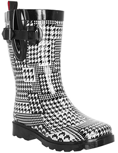 Capelli New York Ladies Houndstooth Printed Mid- Calf Rain Boot White Combo 10