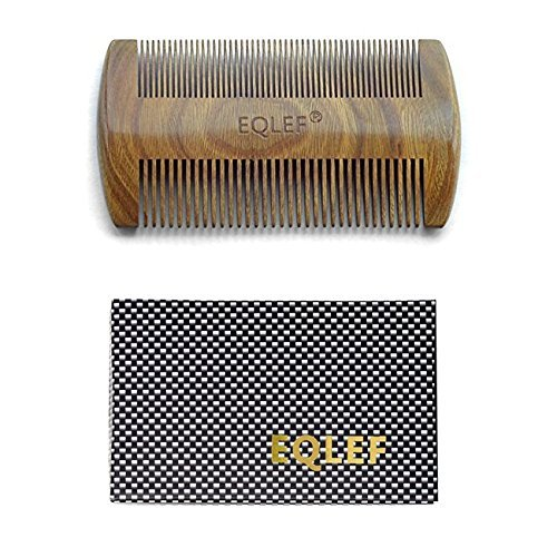 EQLEF® Green sandalwood no static handmade comb,Pocket comb (beard)