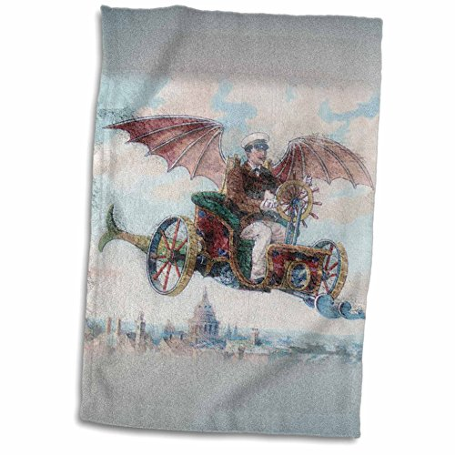 3dRose Florene Steam Punk - Flying Machine Steam Punk - 12x18 Towel (twl_50202_1)