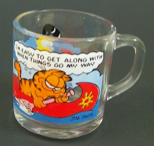 Garfield Characters Glass Mug I AM EASY TO GET ALONG WITH WHEN THINGS GO MY WAY 1978 Collectible