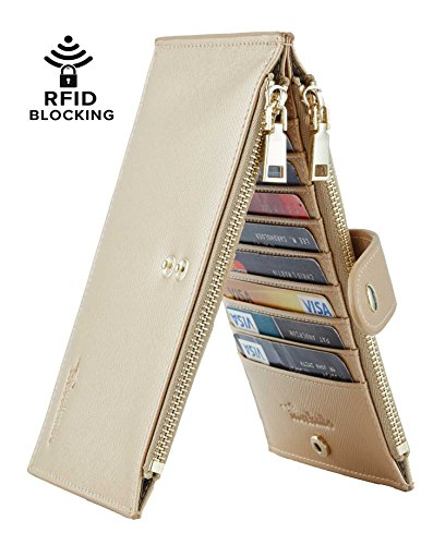 Travelambo Womens Walllet RFID Blocking Bifold Multi Card Case Wallet with Zipper Pocket (synethic leather champagne gold)