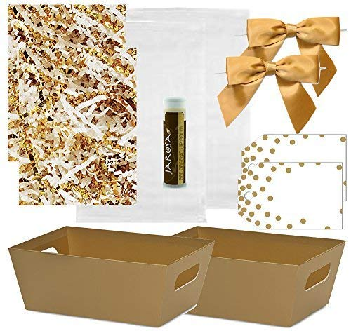 Pursito Gift Basket Making Kit 7″ x 5″ x 3″ Includes: Metallic Gold Basket, Crinkle, Cellophane Bag, Gold Bows & Gift Tags – 2 Sets Wedding, Christmas & Birthday Gifts