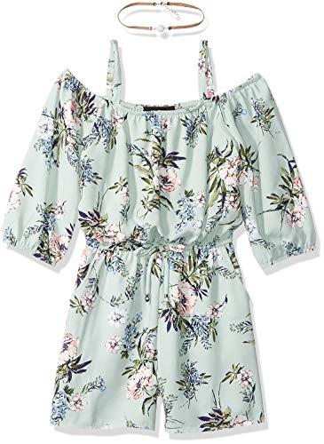 Amy Byer Girls' Big Off The Shoulder Romper, sage/Rose Floral Bouquet, - Girls Short Tween Dresses