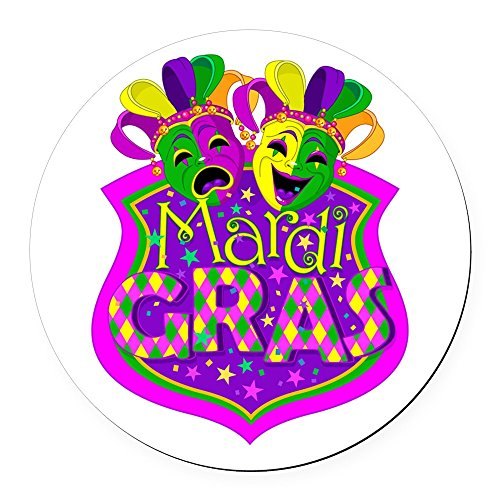 Round Car Magnet 5.5 Inch Mardi Gras Comedy Tragedy Masks ()