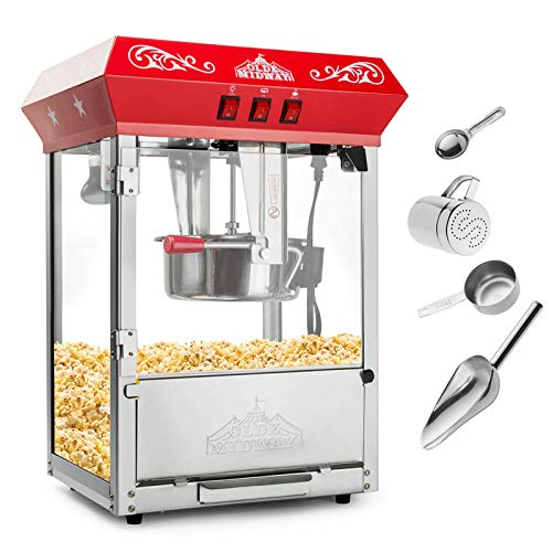 Olde Midway Bar Style Popcorn Machine Maker Popper with 8-Ounce Kettle - -