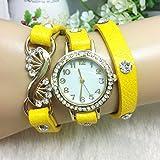 Casual Crystal PU Leather Band Little Case Women Bracelet Watch