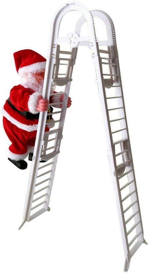 Cutogain Eléctrico Santa Claus Escalada Escalera Muñeca Música Niño Juguete Navidad Decoración Regalo: Amazon.es: Hogar