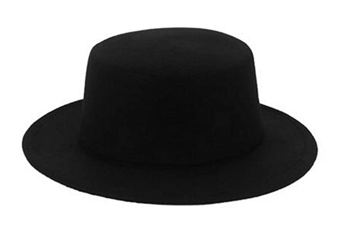 Amazon.com  Black Classic Wool Blend Brim Flat Fedora Hat Derby ... 6397f6720d8