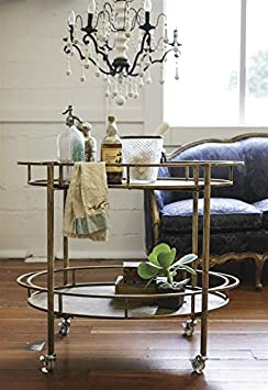 Metal 2 Tier Bar Cart Gold Finish On Casters Country Home D