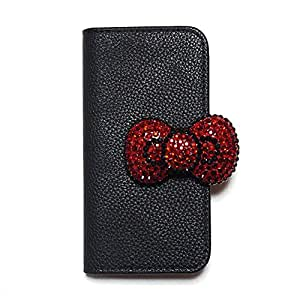 iPhone 6 plus iPhone 6s plus Case Flip case Diary-kitty4 (A) Wallet Case Slim Fit Heavy Duty Protection Screen Protector Grained pattern Red Bow Rhinestone Verizon AT&T Sprint T-Mobile