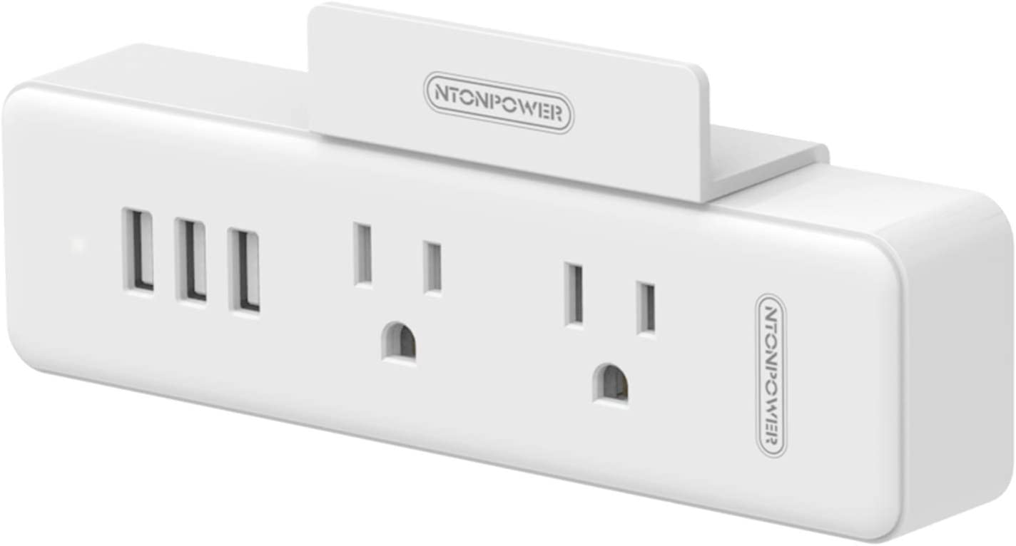 Power Strip No Surge Protector-NTONPOWER Travel Wall Multiple Outlet Wall Plug with 3 USB Ports 2 Outlets, Compact Charging Station with Shelf for Cruise Essentials Travel Home Office Hotel - 1 Pack